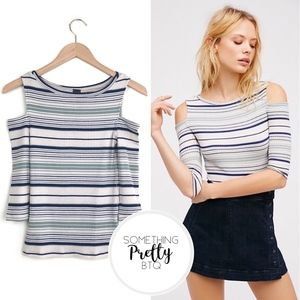 FREE PEOPLE Rory Cold Shoulder Striped Rib Top